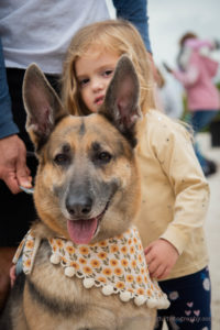 girl with german shepherd at paws in motion 2021
