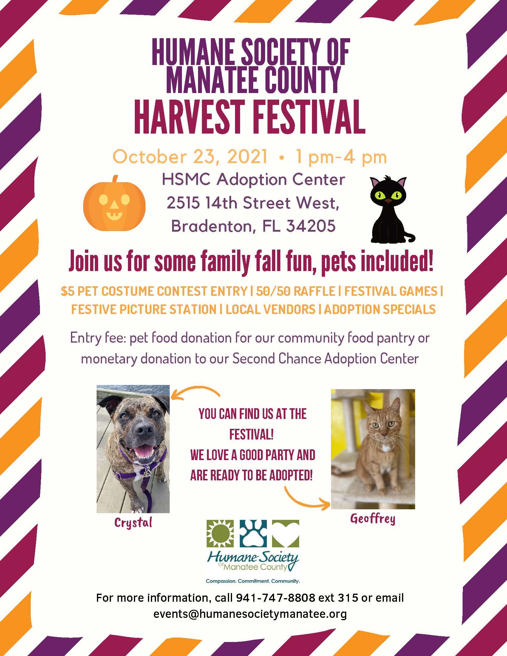 harvest festival flyer october 23 at adoption center.